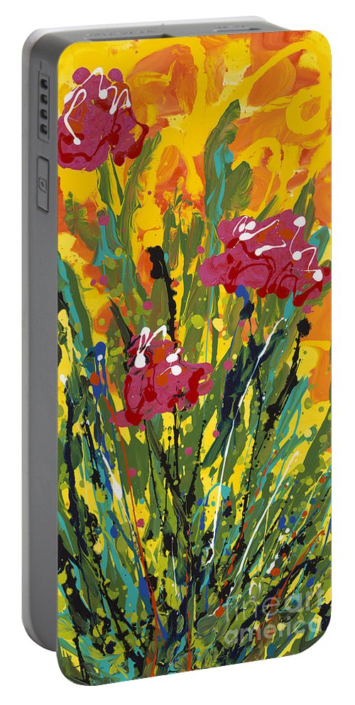 Spring Portable Battery Charger featuring the painting Spring Tulips Triptych Panel 3 by Nadine Rippelmeyer