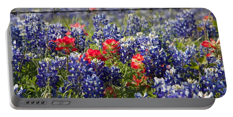 Bluebonnets Portable Battery Charger featuring the photograph Spring Wildflowers by Dave Files