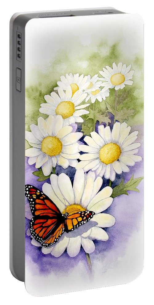 Watercolor Floral Portable Battery Charger featuring the painting Springtime Daisies by Brett Winn