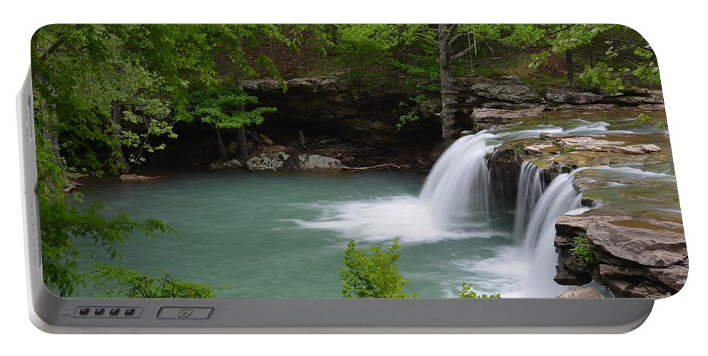 Waterfalls Portable Battery Charger featuring the photograph Springtime Flows by Deanna Cagle