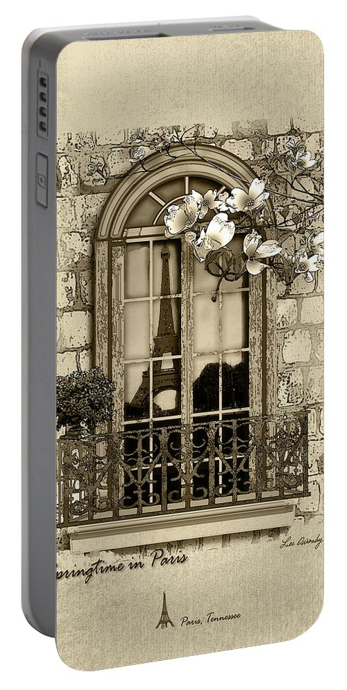 Eiffel Tower Portable Battery Charger featuring the mixed media Springtime In Paris In Sepia by Lee Owenby