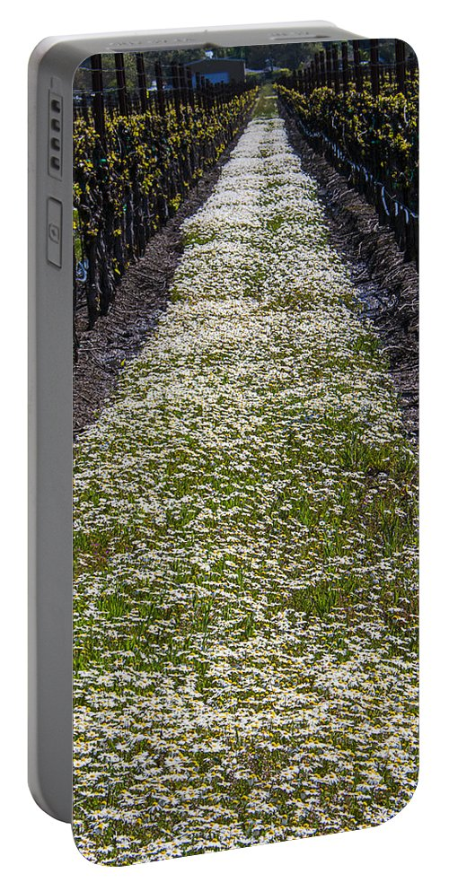 Spring Portable Battery Charger featuring the photograph Springtime In The Vineyards by Garry Gay