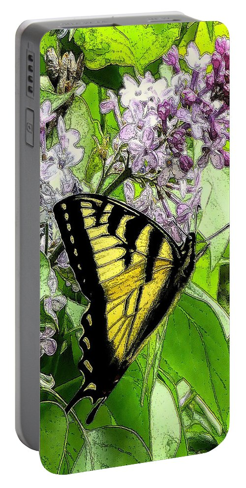 Lilacs Portable Battery Charger featuring the digital art Springtime Moments- The Butterfly And The Lilac by Patricia Keller