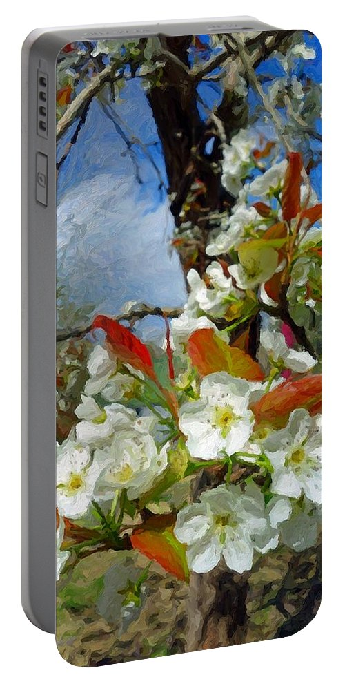 Springtime Pear Blossoms Portable Battery Charger featuring the photograph Springtime Pear Blossoms - Hello Spring by Rebecca Korpita
