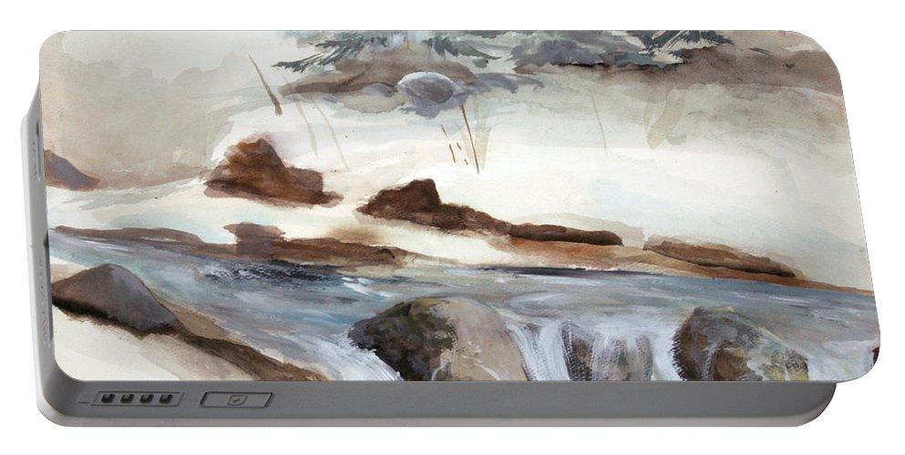 Rick Huotari Portable Battery Charger featuring the painting Springtime by Rick Huotari
