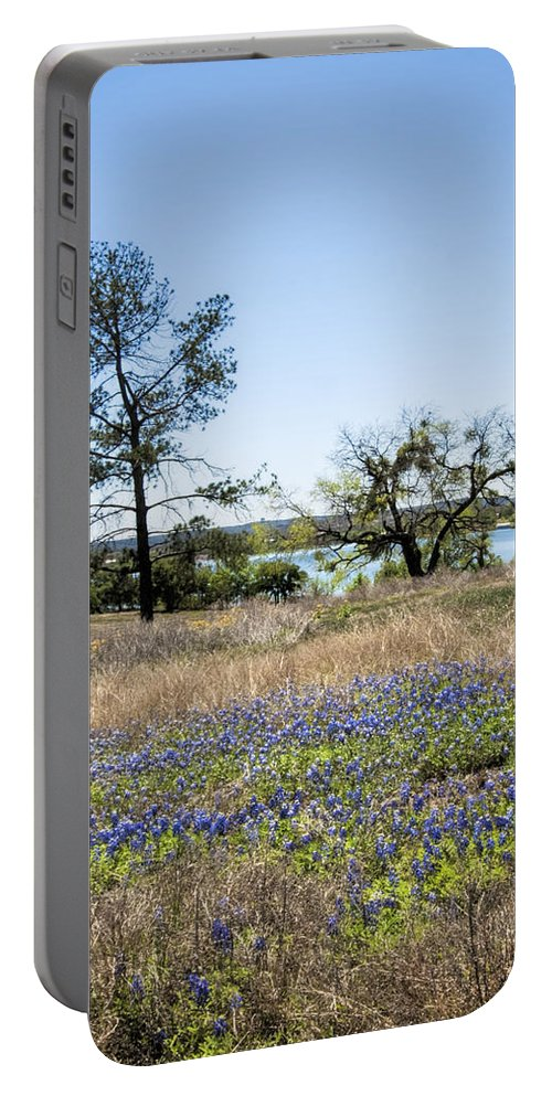 Lupinus Texensis Portable Battery Charger featuring the photograph Springtime Texas Bluebonnets Naturalized by Kathy Clark