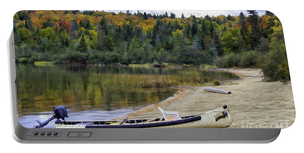 Canoe Portable Battery Charger featuring the photograph Squareback Canoe With Engine by Les Palenik