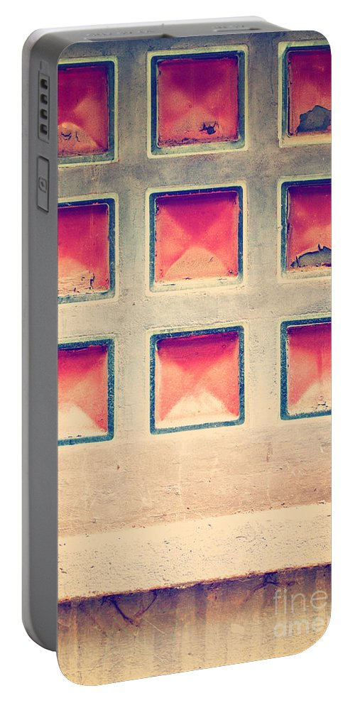 Abstract Portable Battery Charger featuring the photograph Squares In Wall by Silvia Ganora