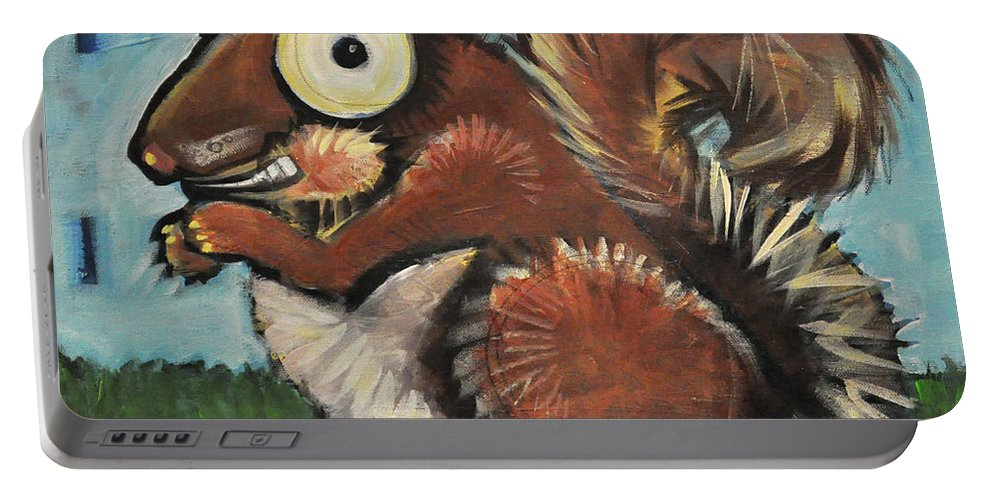 Squirrel Portable Battery Charger featuring the painting Squirrel by Tim Nyberg