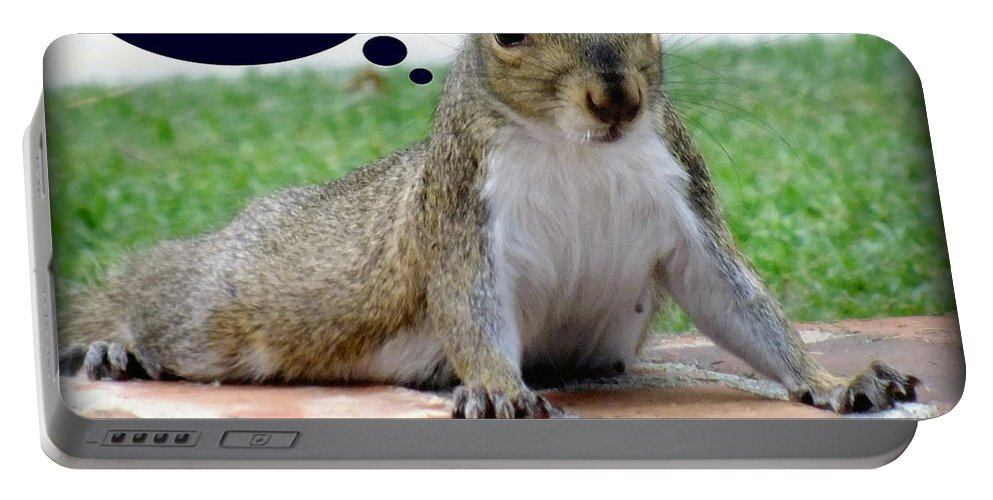 Gym Art Portable Battery Charger featuring the photograph Squirrely Push Ups by Karen Wiles