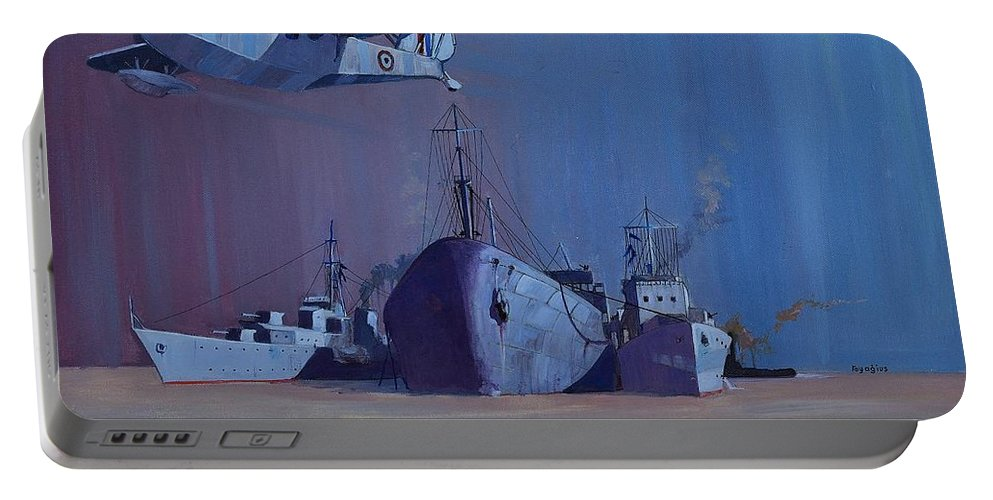 Sea Portable Battery Charger featuring the painting Ss Ohio by Ray Agius