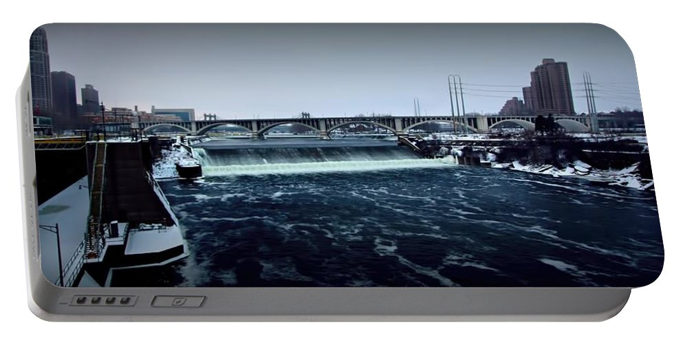 St Anthony Fall Portable Battery Charger featuring the photograph St Anthony Falls Minneapolis by Amanda Stadther
