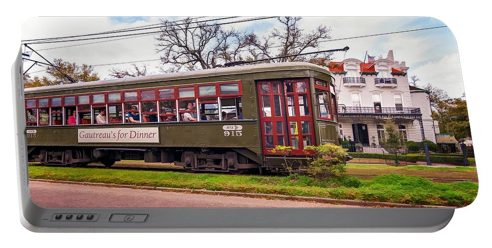 Nola Portable Battery Charger featuring the photograph St. Charles Ave. Streetcar 2 by Steve Harrington