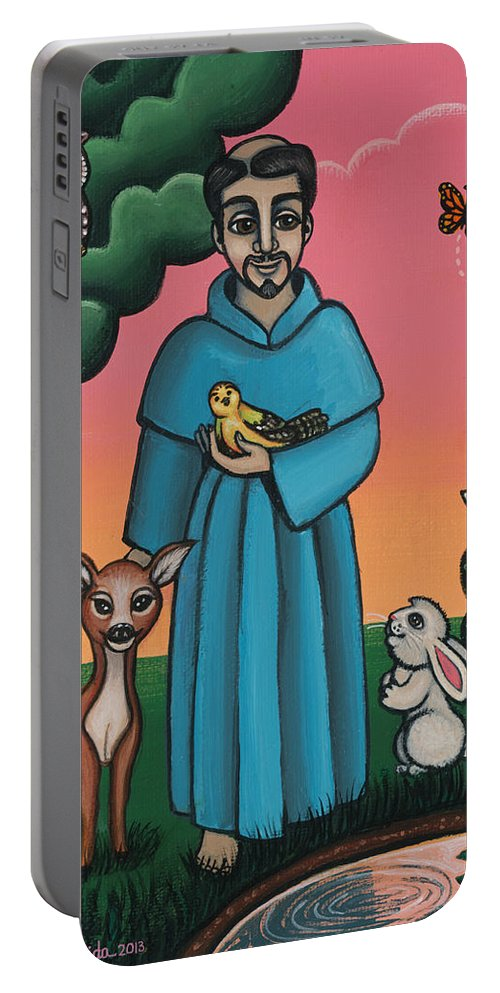 St. Francis Portable Battery Charger featuring the painting St. Francis Animal Saint by Victoria De Almeida