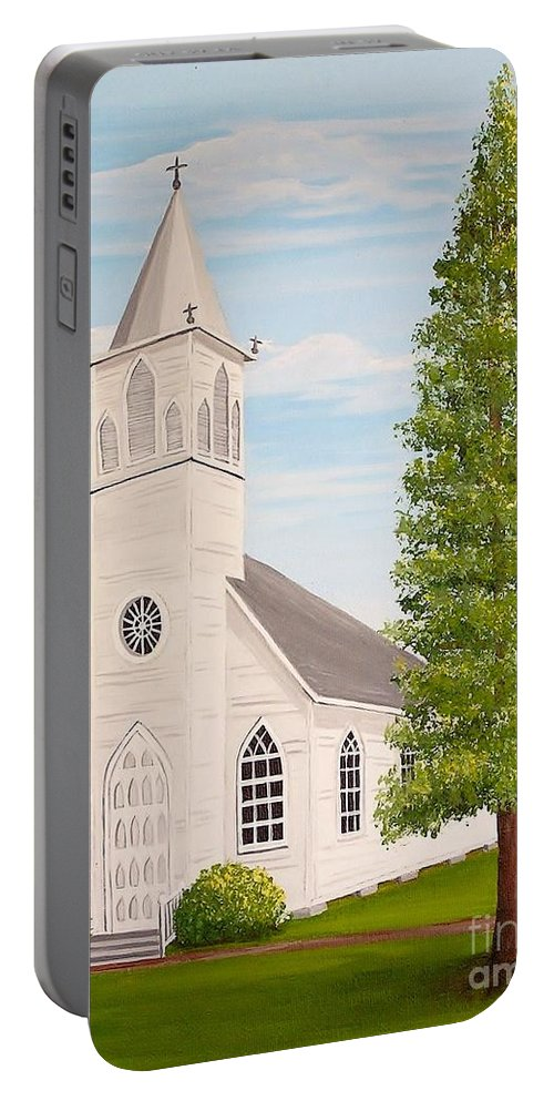 Church Portable Battery Charger featuring the painting St. Gabriel The Archangel Roman Catholic Church by Valerie Carpenter