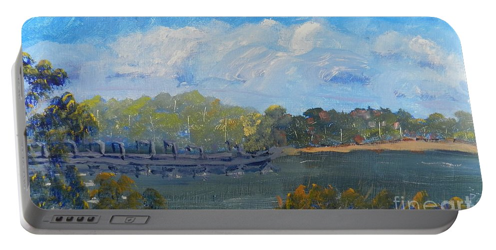 Impressionism Portable Battery Charger featuring the painting St Georges River Near Como Marina by Pamela Meredith