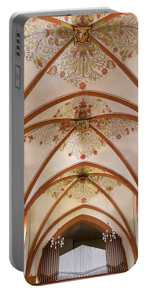 Organ Portable Battery Charger featuring the photograph St Goar Organ And Ceiling by Jenny Setchell