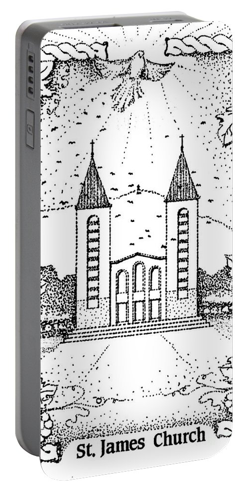 Saint Portable Battery Charger featuring the drawing St James And Dove by Christina Verdgeline