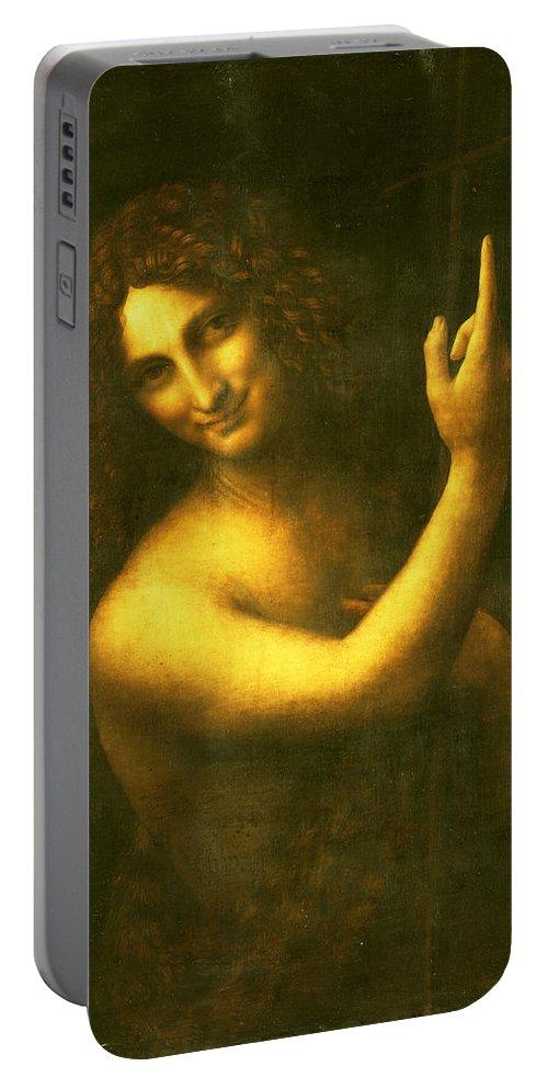 Leonardo Da Vinci Portable Battery Charger featuring the painting St. John The Baptist by Leonardo Da Vinci