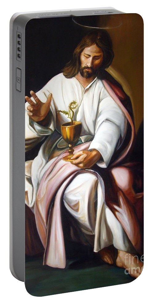 Classic Art Portable Battery Charger featuring the painting St John The Evangelist by Silvana Abel