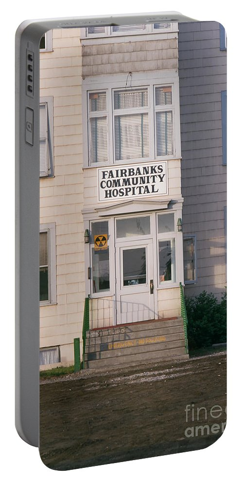 St. Joseph's Portable Battery Charger featuring the photograph St. Joseph's Hospital Fairbanks Alaska The Chena River 1969 by California Views Archives Mr Pat Hathaway Archives