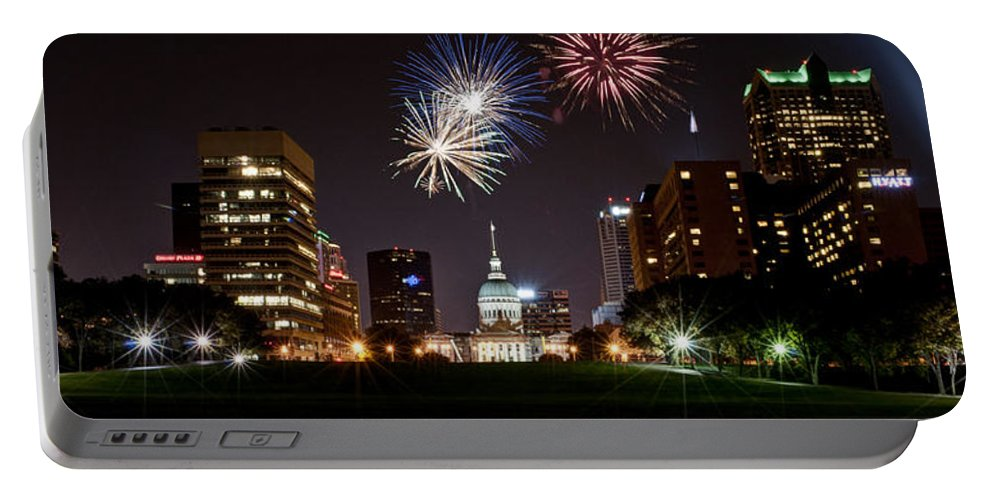 Fireworks Portable Battery Charger featuring the photograph St. Louis Under Fire by Deborah Klubertanz