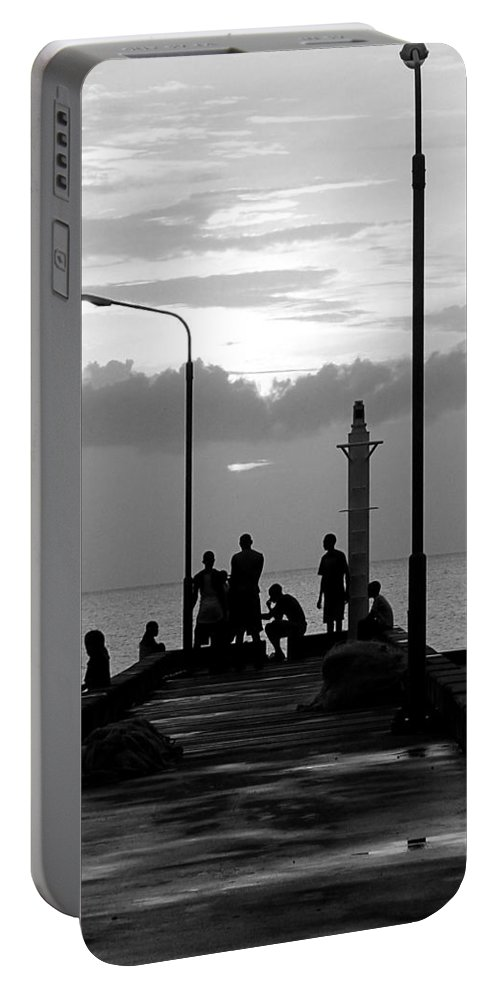 Black And White Portable Battery Charger featuring the photograph St Lucia Anse La Raye 01 by Jeff Brunton