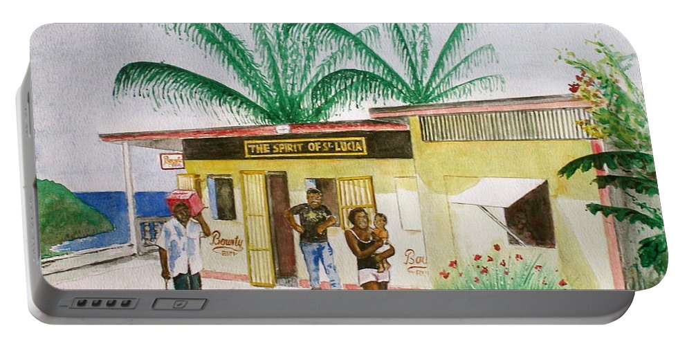 St Lucia Store Rum Man Woman With Baby Palm Trees Portable Battery Charger featuring the painting St. Lucia Store by Frank Hunter