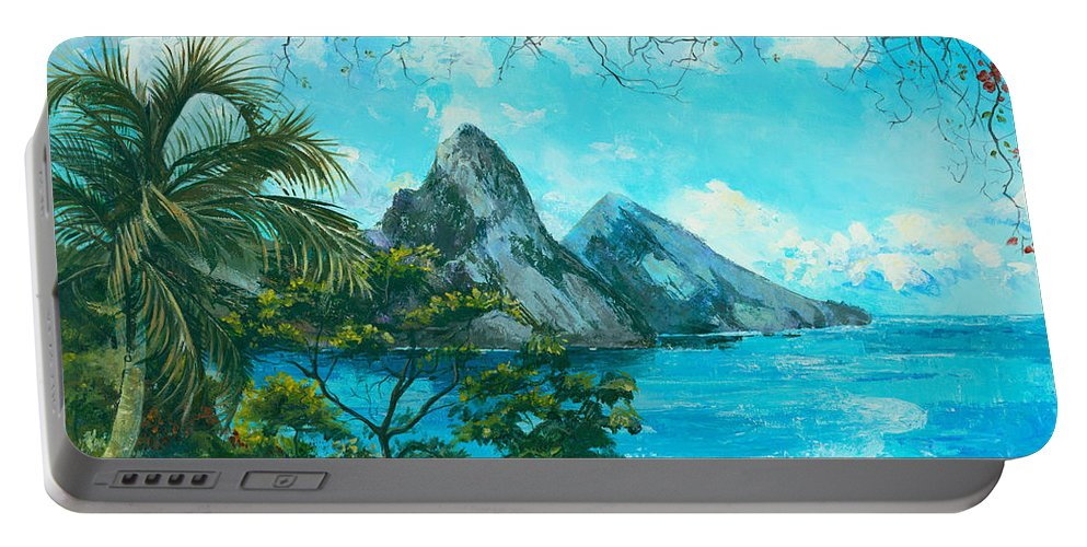 Mountains Portable Battery Charger featuring the painting St. Lucia - W. Indies by Elisabeta Hermann