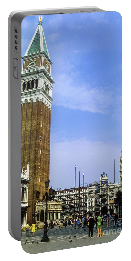 Saint Mark Square Tower Towers Cathedral Cathedral Person Persons People Bird Birds Pigeon Pigeons St. Mark's Square Saint Mark's Square City Cities Building Buildings Structure Structures Architecture Cityscape Cityscapes Venice Italy Landmark Landmarks Portable Battery Charger featuring the photograph St. Mark's Square by Bob Phillips