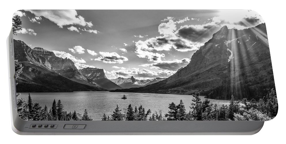 Lake Portable Battery Charger featuring the photograph St. Mary Lake Bw by Aaron Aldrich