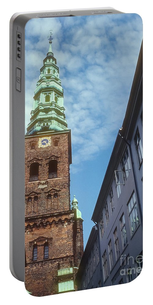 St. Nikolai Church Tower Churches Clock Towers Building Buildings Structure Structures Architecture Place Places Of Worship Copenhagen Denmark Portable Battery Charger featuring the photograph St. Nikolai Church Tower by Bob Phillips