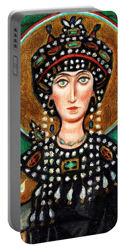Catholic Portable Battery Charger featuring the painting St Patricia by Xueling Zou