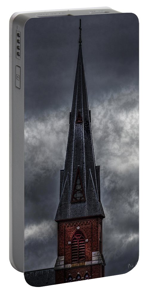 St. Patrick`s Portable Battery Charger featuring the photograph St. Patricks Spire by Bob Orsillo