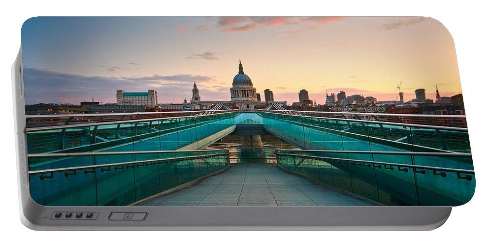 Europe Portable Battery Charger featuring the photograph St. Paul's Cathedral And Millennium Bridge In London by Milan Gonda