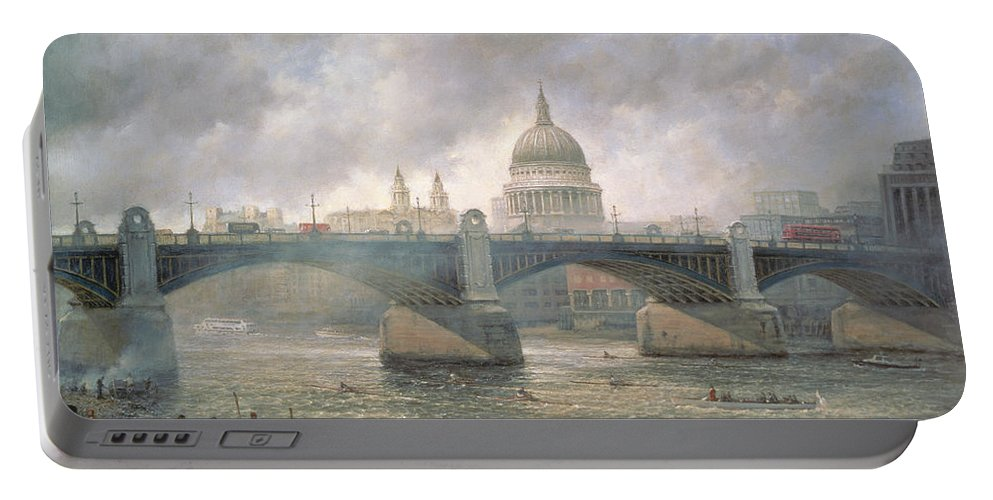 Thames Portable Battery Charger featuring the painting St. Paul's Cathedral From The Southwark Bank by Richard Willis