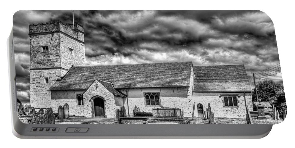 St Sannans Church Portable Battery Charger featuring the photograph St Sannans Church Bedwellty 3 Mono by Steve Purnell