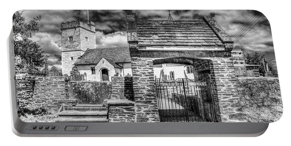 St Sannans Church Portable Battery Charger featuring the photograph St Sannans Church Bedwellty 4 Mono by Steve Purnell