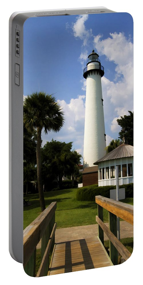 Saint Portable Battery Charger featuring the photograph St. Simon's Island Georgia Lighthouse Painted by Kathy Clark