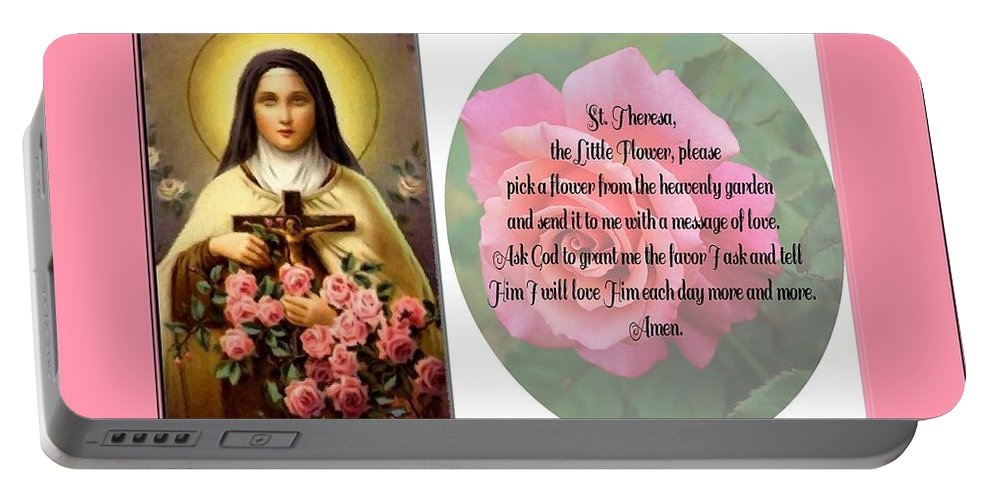 St. Theresa Prayer With Pink Border Portable Battery Charger featuring the photograph St. Theresa Prayer With Pink Border by Barbara Griffin