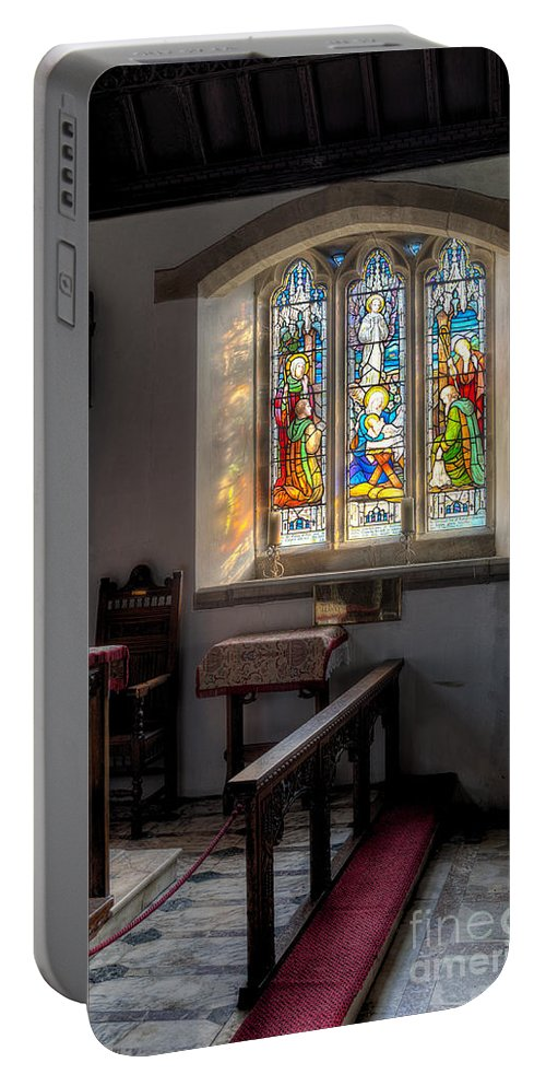 Arch Portable Battery Charger featuring the photograph St Tysilio Window by Adrian Evans