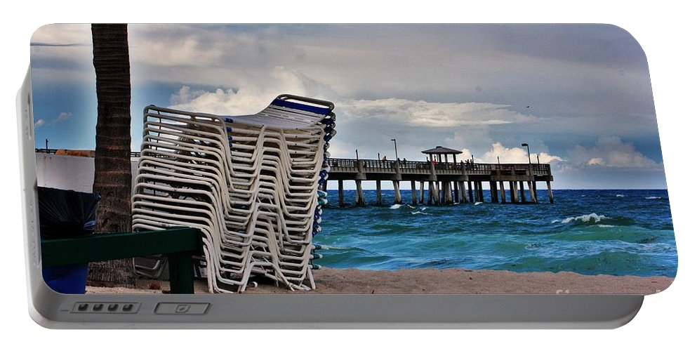 Beach Portable Battery Charger featuring the photograph Stacked Beach Chairs by Chuck Hicks