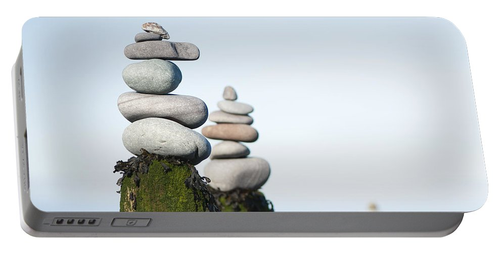 Anne Gilbert Portable Battery Charger featuring the photograph Stacks Squared by Anne Gilbert
