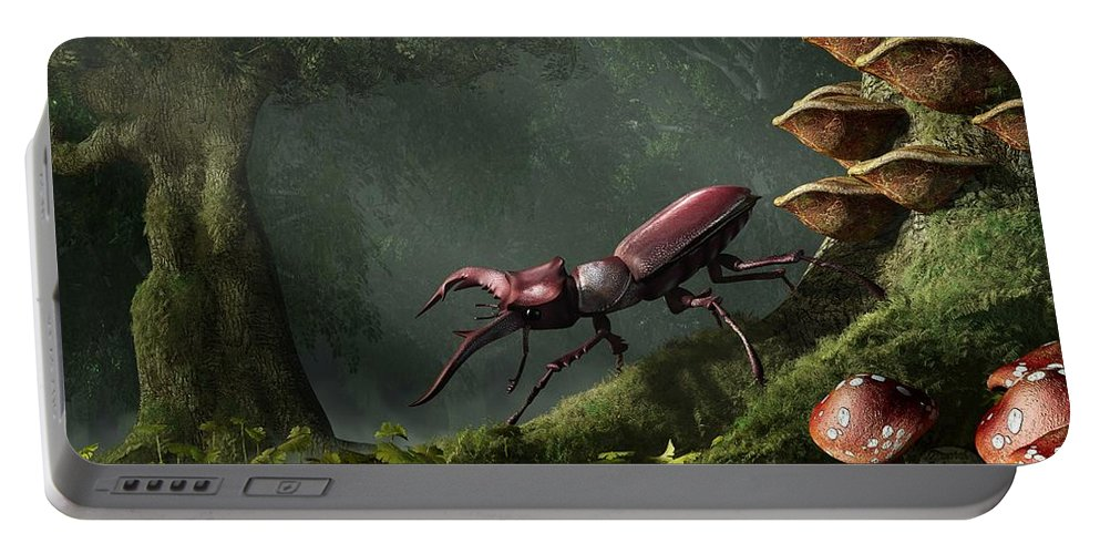 Stag Beetle Portable Battery Charger featuring the digital art Stag Beetle by Daniel Eskridge