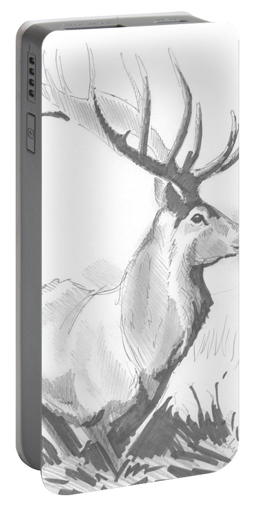 Stag Portable Battery Charger featuring the drawing Stag Drawing by Mike Jory