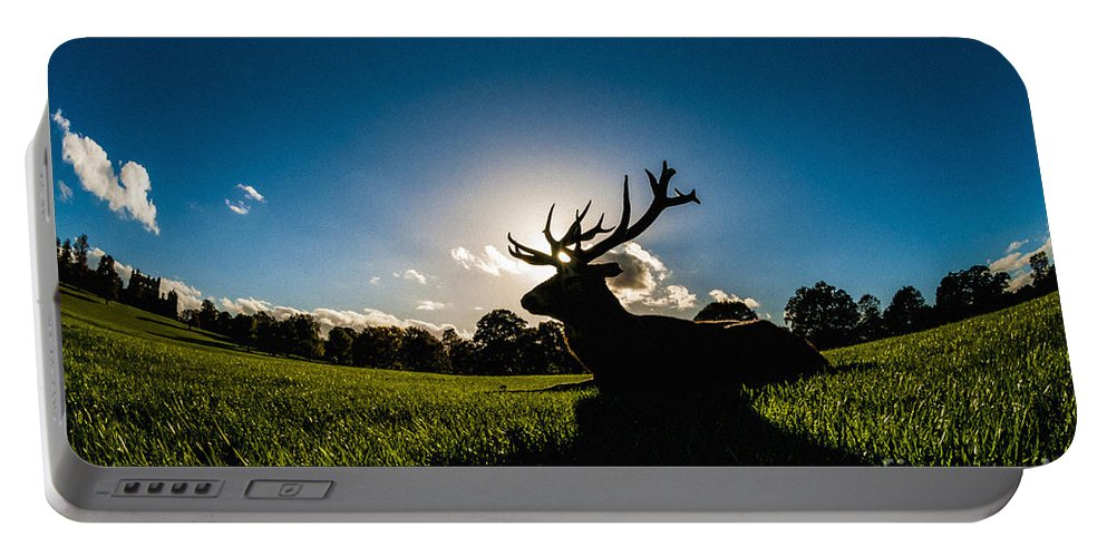Britain Portable Battery Charger featuring the photograph Stag Silhouette by Bailey Cooper