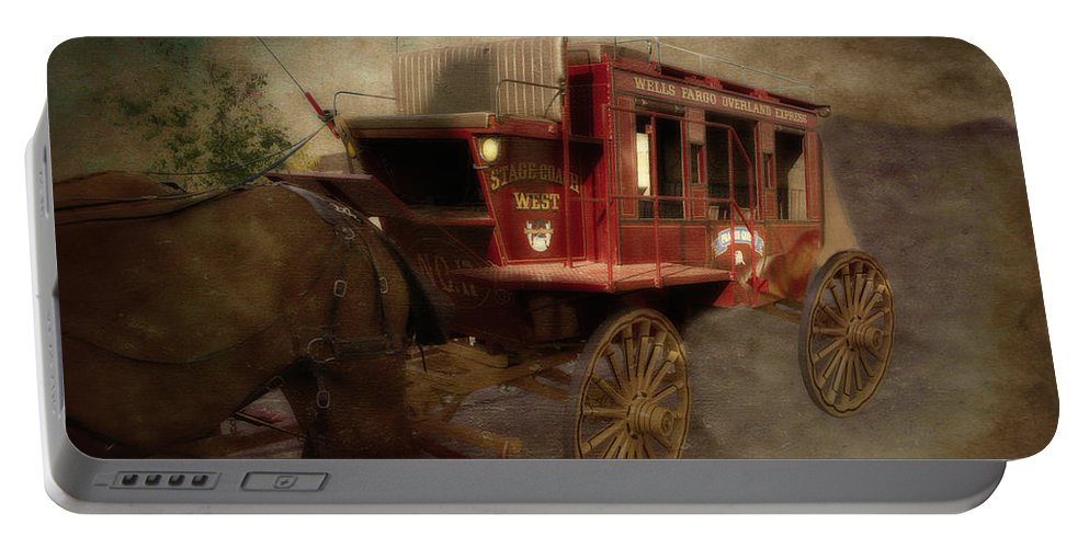 Stagecoach Portable Battery Charger featuring the mixed media Stagecoach West Sepia Textured by Thomas Woolworth