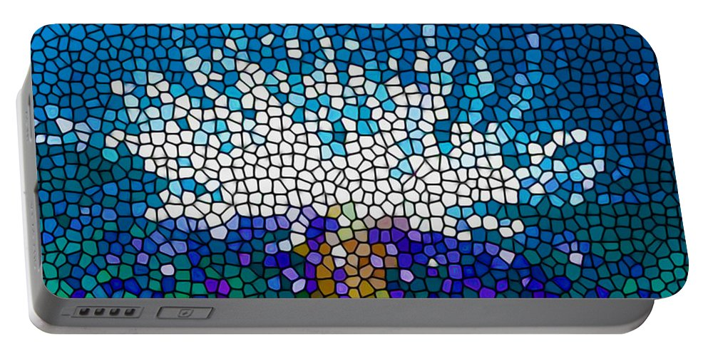 Aquatic Portable Battery Charger featuring the painting Stained Glass Anemone 1 by Jeelan Clark