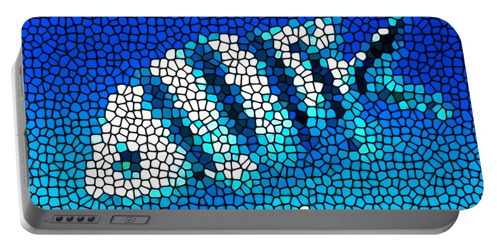 Stained Glass Underwater Fish Portable Battery Charger featuring the painting Stained Glass Underwater Fish by Jeelan Clark