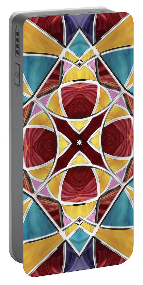 Stained Glass Portable Battery Charger featuring the digital art Stained Glass Window 5 by Shawna Rowe